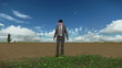 Businessman in Desert with Ivy Growing and Time Lapse Clouds