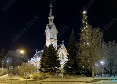Kajaani Church in winter night, Finland