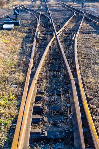 Narrow-gauge railway side track in Bytom, Silesia region, Poland - 48570381
