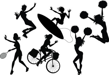Silhouettes of women playing sports