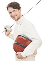 Happy fencer with rapier foil
