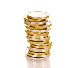 Säule aus 1 und 2-Eurostücken