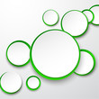 Paper white-green round speech bubbles.