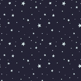 Vector seamless pattern with night sky and stars.