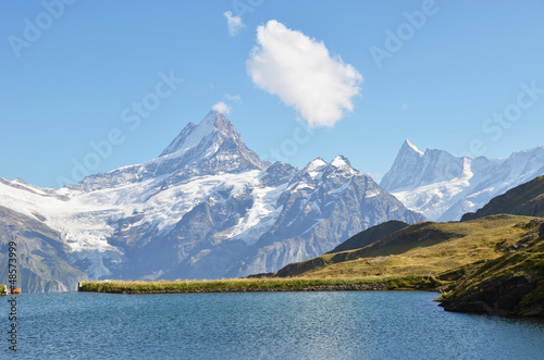 Bachalp lake in Swiss Bernese Alps