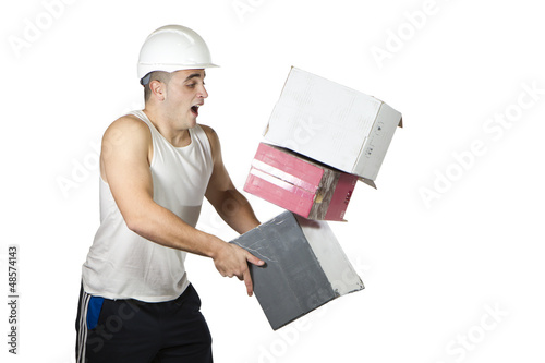 accident worker who is falling boxes