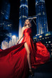 Fashion Lady In Red Dress And City Lights