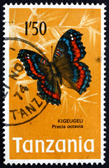 Postage stamp Tanzania 1973 Gaudy Commodore, Butterfly