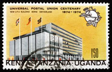 Postage stamp Tanzania, Kenya, Uganda 1974 UPU Headquarters, Ber