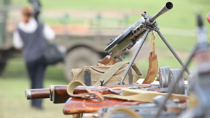 Weapon placed on a bipod mount