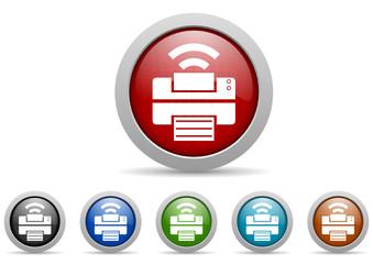 printer vector icon set