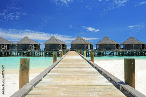 View of water villas resort on Maldives