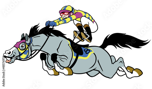 race horse with jockey - 48576976
