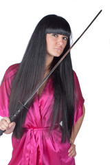 Woman Holding Traditional Japanese Sword