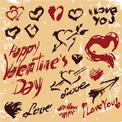 valentines day grunge hearts set