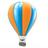 3d blue and orange balloon