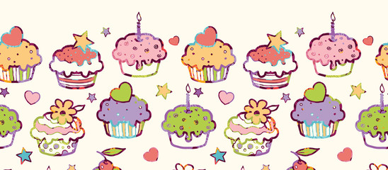 Vector colorful party muffins horizontal seamless pattern