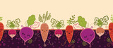 Vector root vegetables characters horizontal seamless pattern
