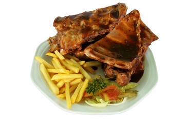 Spareribs and Fries on White Plate