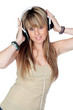 Attractive girl with headphone listening music