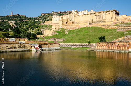 View of Amber Palace across lake, near Jaipur.