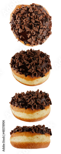 picture of four chocolate donuts in different positions