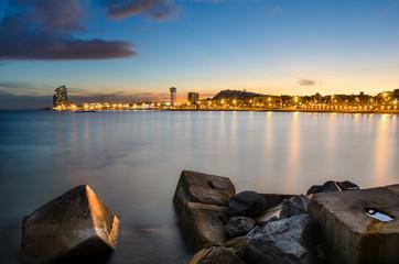 Coastline of Barcelona at sunset, Spain