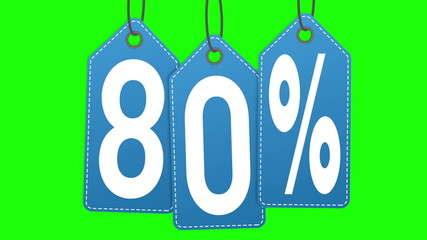 Labels discount of 80% and 90% on a green background screen.