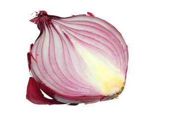 Red onion cut in half isolated