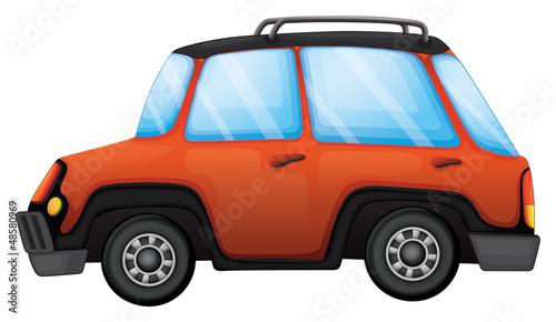 An orange car