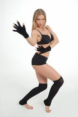 girl in black lingerie