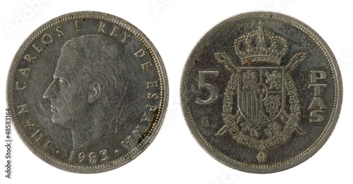 Spanish Coin on the white background (1983 year)