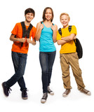Happy teen kids with backpacks