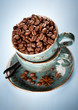 Coffee beans and spices in the blue cups