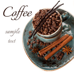 Coffee beans, vanilla, cinnamon and star anise