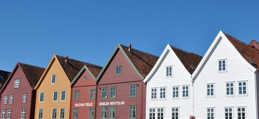Historische Holzhäuser  im Viertel Bryggen, Bergen, Norwegen