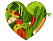 Vegetables in heart shape - diet products