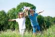 Happy children on meadow