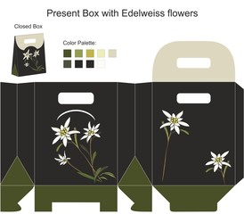 Present box with edelweiss flowers