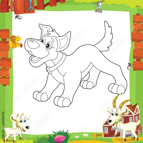 Canvas Doe het zelf The coloring plate - illustration for the children