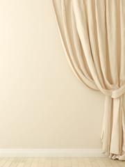 Curtains against a beige wall