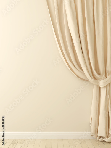 Curtains against a beige wall