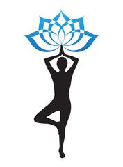 Yogi and lotus flower