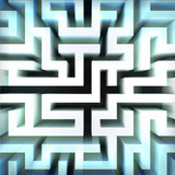 light blue labyrinth wall structure in top blured view