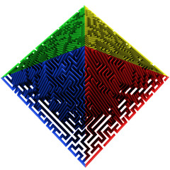 green blue red yellow colored pyramidal maze structure