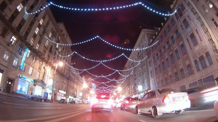 Roads Moscow have decorated with garlands by New year