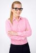Portrait of a happy blonde geek girl in glasses