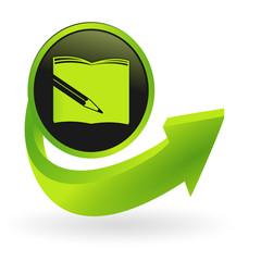 bouton écrire flêche verte