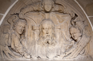 Kosice -  Relief of face of Jesus Christ - Elizabeth cathedral