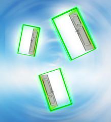 Three opened door in sky space wind vortex